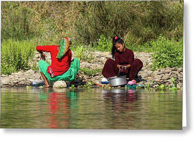 Washing Clothes In Nepal Greeting Card