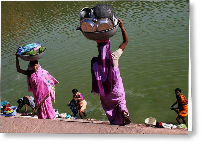 Washing Day Sari Clad Women Ghat Steps India Greeting Card by Jane McDougall