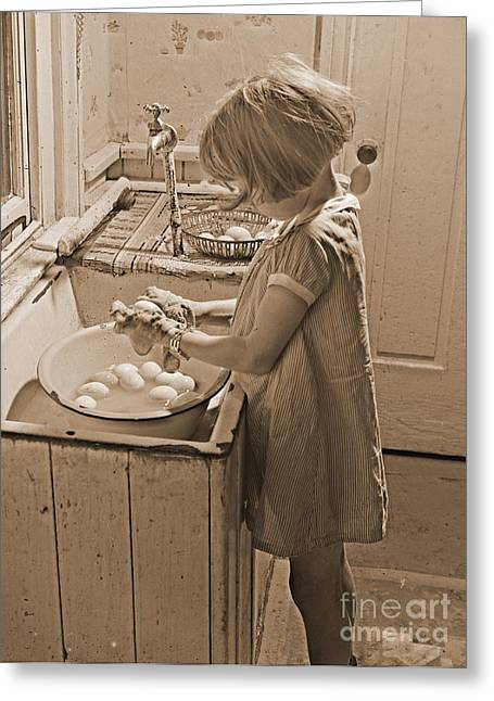 Washing Eggs Sepia Greeting Card