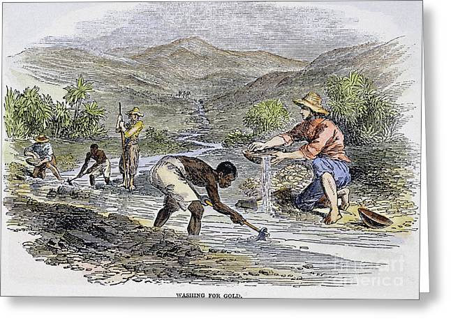 Washing For Gold, 1849 Greeting Card