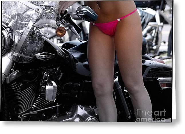 Steven Digman Greeting Cards - Washing Harley Greeting Card by Steven  Digman