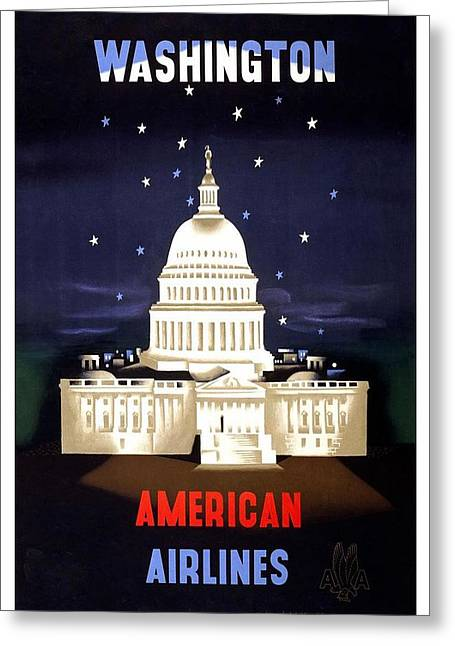 Washington, American Airlines - Retro Travel Poster - Vintage Poster Greeting Card