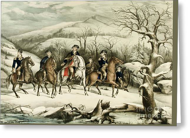 Washington And His Staff At Valley Forge Greeting Card by American School