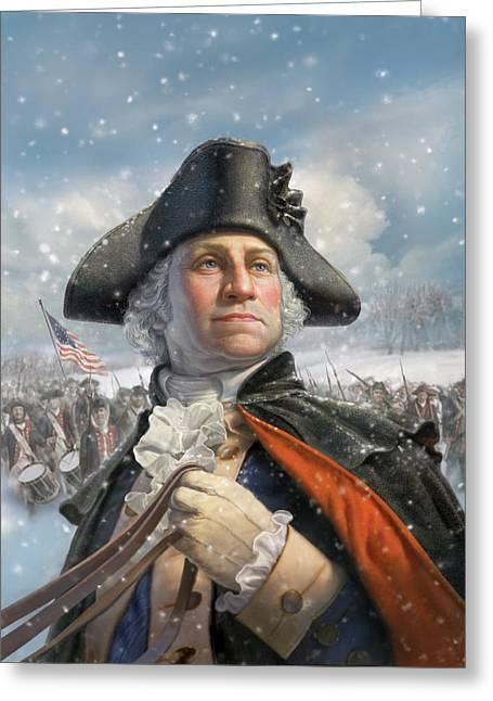 Washington At Valley Forge Greeting Card