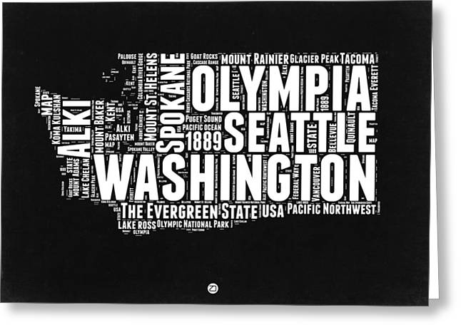 Washington Black And White Word Cloud Map Greeting Card by Naxart Studio