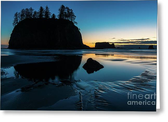 Washington Coast Beach Sunset Edges Of Light Greeting Card by Mike Reid