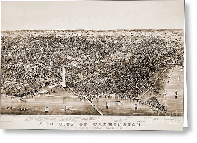 Aerial View Greeting Cards - Washington D.c., 1892 Greeting Card by Granger