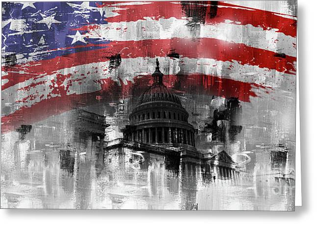 Greeting Card featuring the painting Washington Dc Building 01a by Gull G