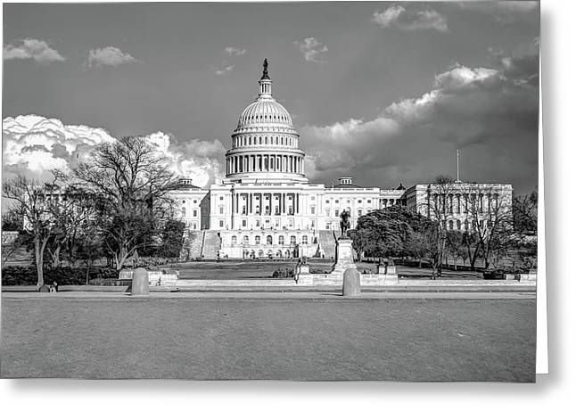 Washington Dc Capitol Building - Black And White Greeting Card