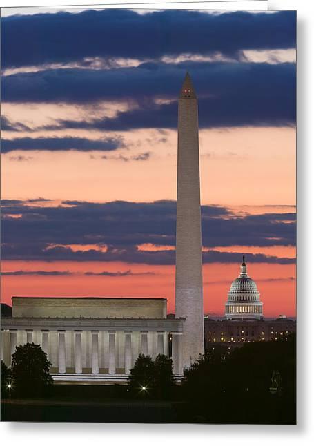 Washington Dc Landmarks At Sunrise II Greeting Card by Clarence Holmes