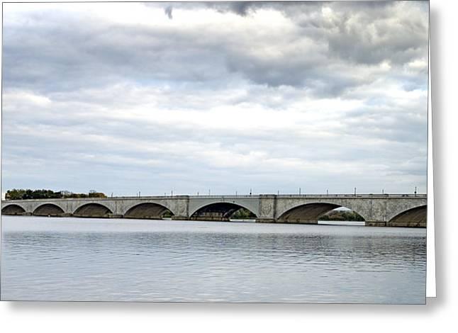 Washington Dc Memorial Bridge Panorama Greeting Card by Brendan Reals