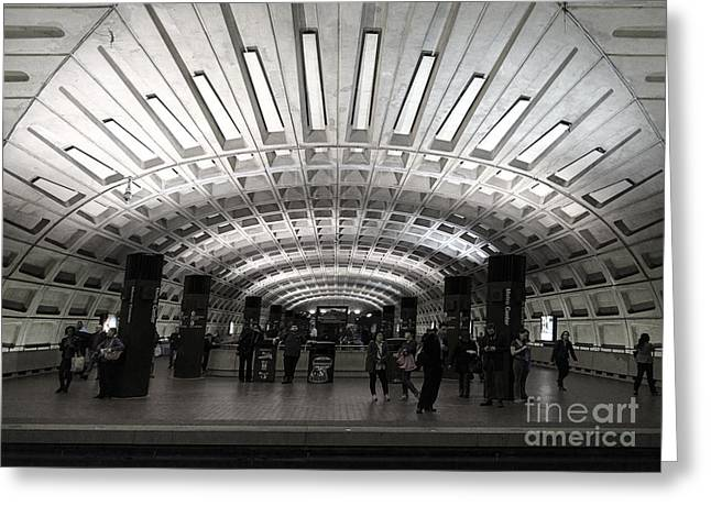Washington Dc Metro Metro Center Stop Greeting Card by Art Whitton