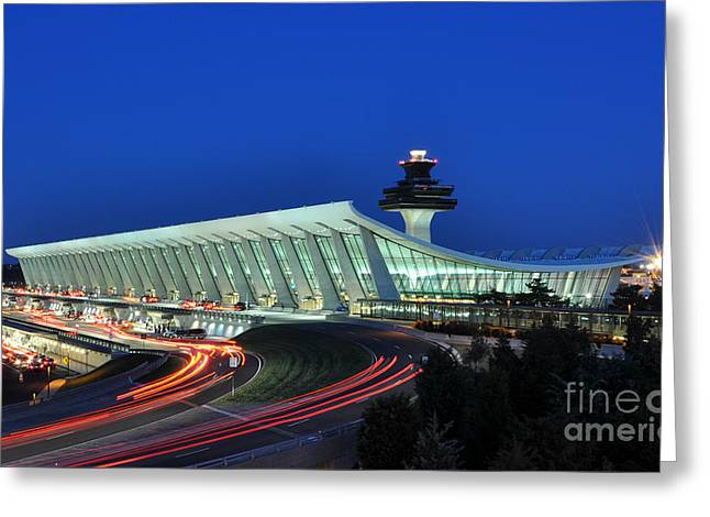 Washington Dulles International Airport At Dusk Greeting Card by Paul Fearn