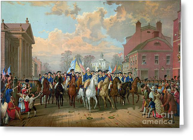 Washington Entering New York City 1783 Greeting Card by Granger