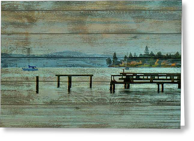 Washington Harbor Barn Door Greeting Card by Dan Sproul