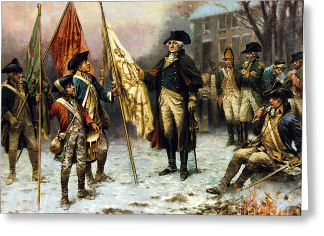 Washington Inspecting Captured Flag Greeting Card