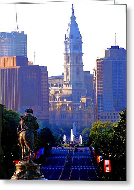 Parkway Digital Greeting Cards - Washington Looking Over to City Hall Greeting Card by Bill Cannon
