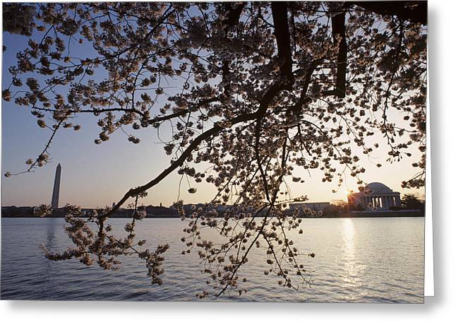 Washington Monument And Jefferson Greeting Card by Kenneth Garrett