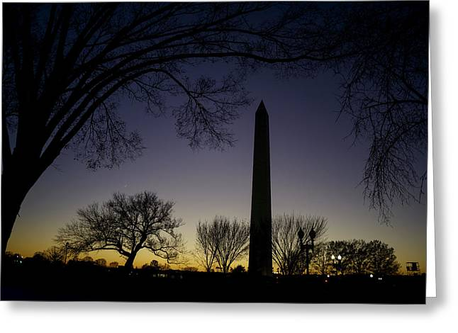 Washington Monument At Twilight With Moon Greeting Card