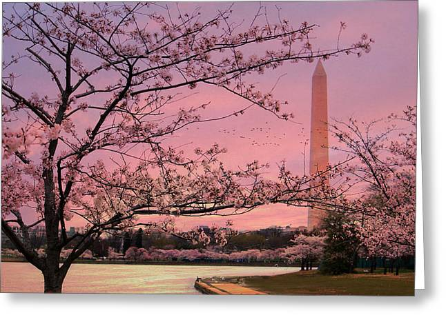 Greeting Card featuring the photograph Washington Monument Cherry Blossom Festival by Shelley Neff