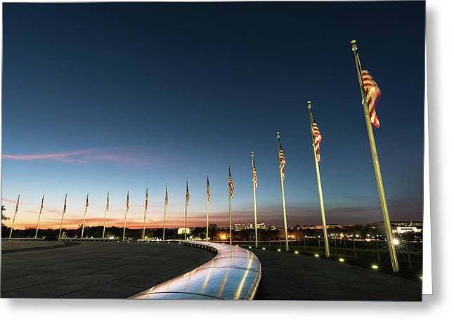 Washington Monument Flags Greeting Card