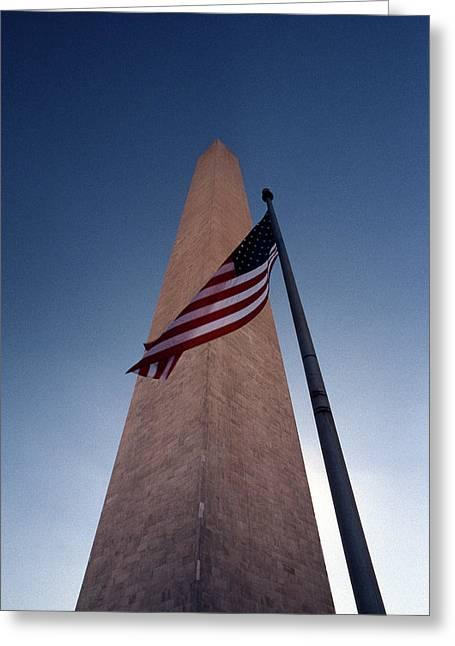 Washington Monument Single Flag Greeting Card by Skip Willits