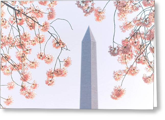 Washington Monument Spring Celebration  Greeting Card by Olivier Le Queinec