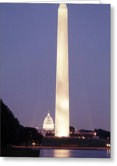 Washington Monument Washington D.c. Wading Pool Greeting Card by Richard Singleton