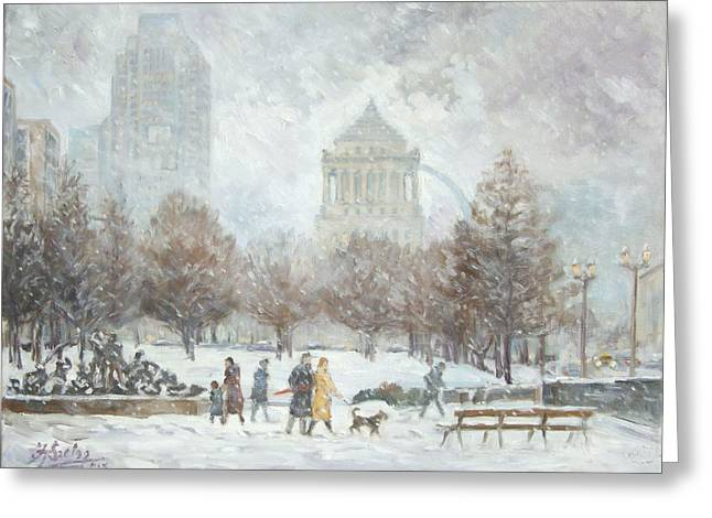 Washington Park In St.louis Winter Greeting Card