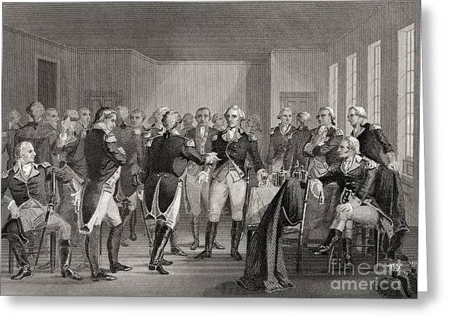 Washington Parting From His Officers At Fraunces Tavern, New York City, Usa, On December 4th 1783 Greeting Card