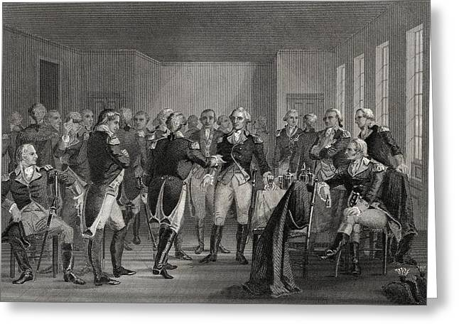President Of America Drawings Greeting Cards - Washington Parting From His Officers At Greeting Card by Ken Welsh
