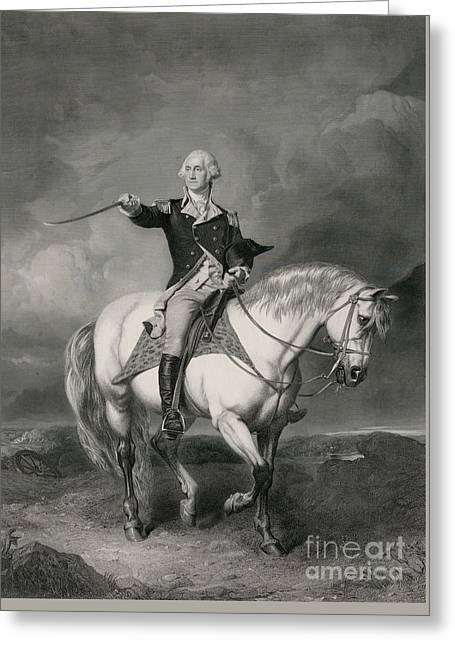 Washington Receiving A Salute On The Field Of Trenton Greeting Card