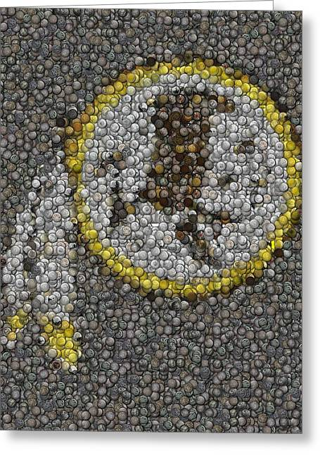 Greeting Card featuring the mixed media Washington Redskins Coins Mosaic by Paul Van Scott