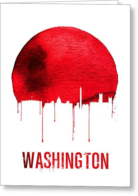 Washington Skyline Red Greeting Card by Naxart Studio