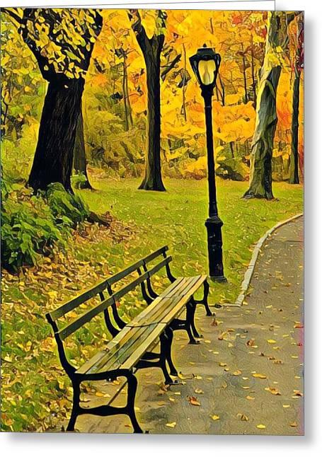 Washington Square Bench Greeting Card
