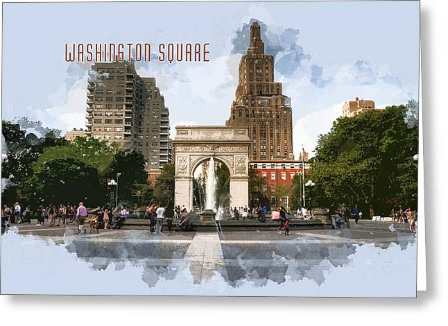 Washington Square Park Greenwich Village With Text Washington Square Greeting Card by Elaine Plesser