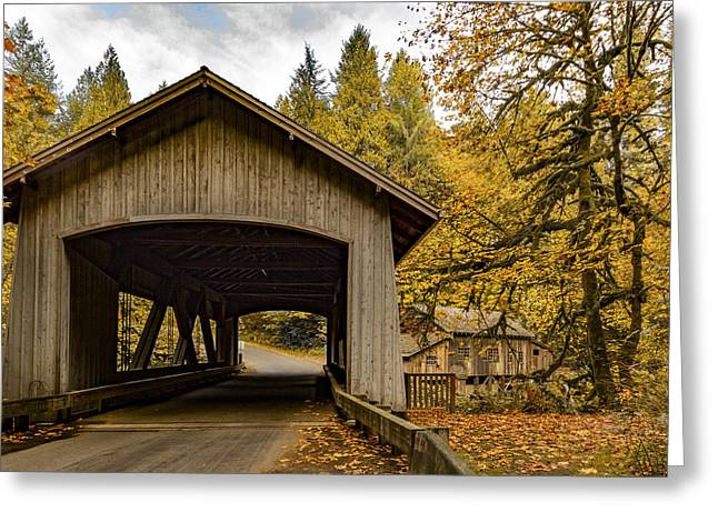 Washington State Covered Bridge And Grist Mill In Autumn  Greeting Card by Jean Noren