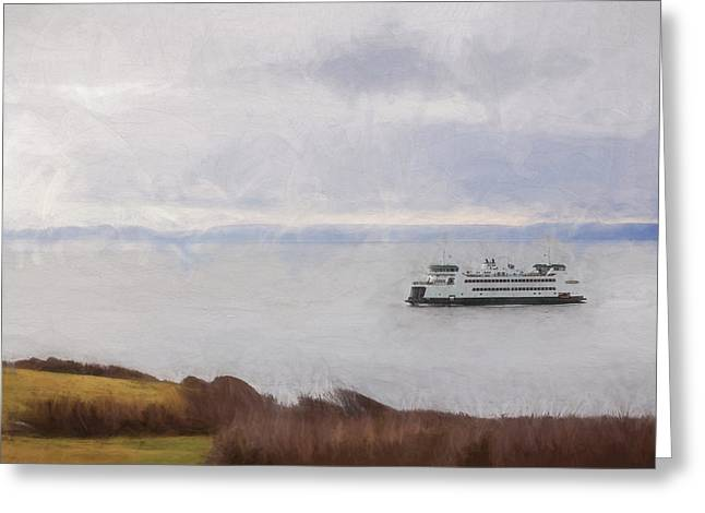 Washington State Ferry Approaching Whidbey Island Greeting Card by Carol Leigh