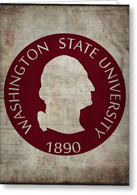 Washington State University Seal Grunge Greeting Card by Daniel Hagerman