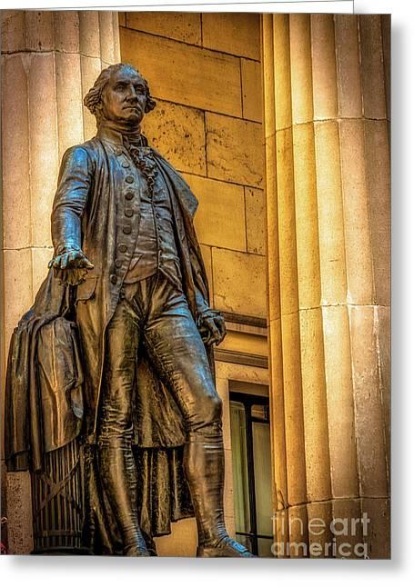 Washington Statue - Federal Hall #2 Greeting Card by Julian Starks