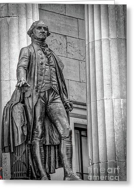 Washington Statue - Federal Hall #3 Greeting Card by Julian Starks