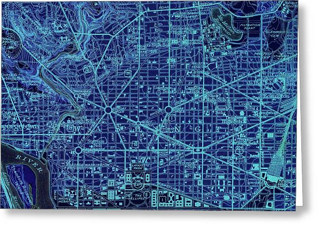 Washington West, Columbia, Old Blue Map, Year 1945 Greeting Card by Pablo Franchi