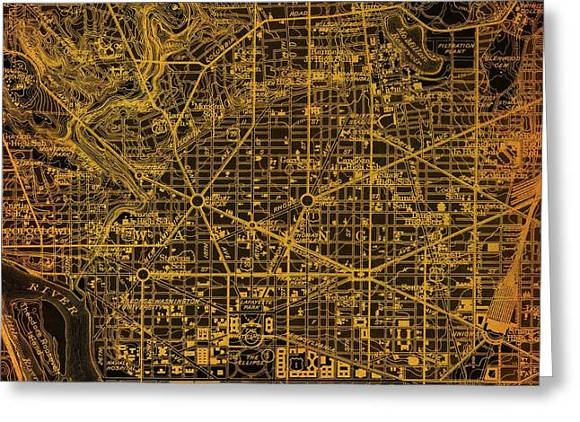 Washington West, Columbia, Old Orange Bronze Map, Year 1945 Greeting Card by Pablo Franchi