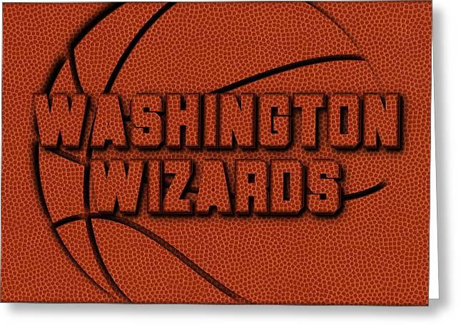 Washington Wizards Leather Art Greeting Card by Joe Hamilton