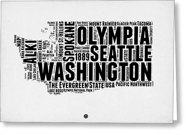 Washington Word Cloud Map 2 Greeting Card by Naxart Studio