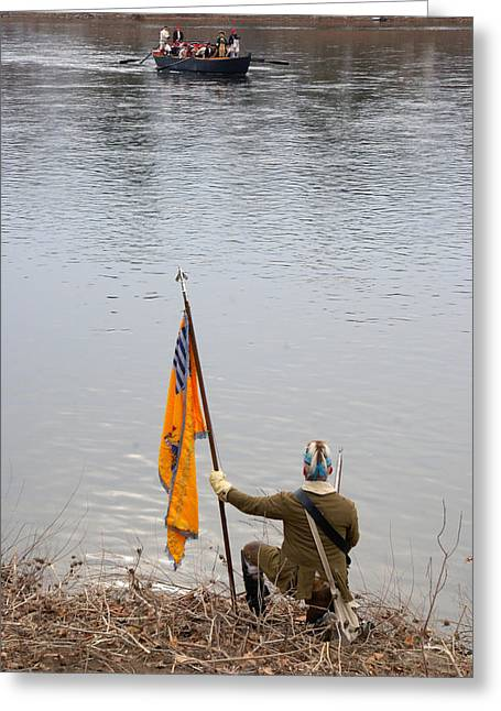 Greeting Card featuring the photograph Washington's Crossing-guiding The Boats by Steven Richman