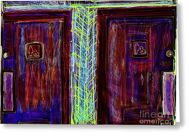 Washrooms Are This Way Greeting Card by Contemporary Luxury Fine Art