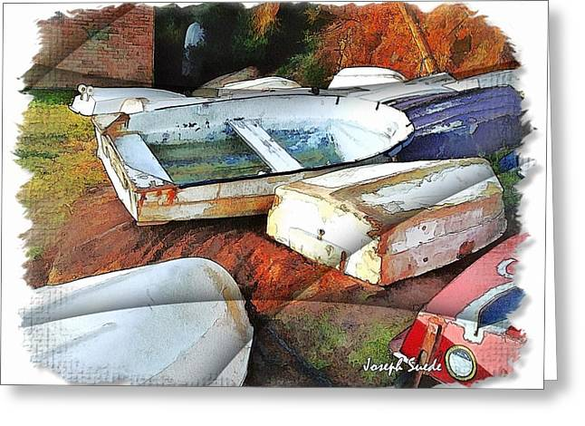 Wat-0012 Tender Boats Greeting Card by Digital Oil