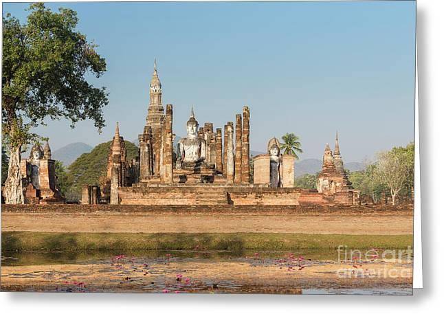 Wat Mahatat, Sukhothai Historical Park, Sukhothai, Thailand Greeting Card by Roberto Morgenthaler