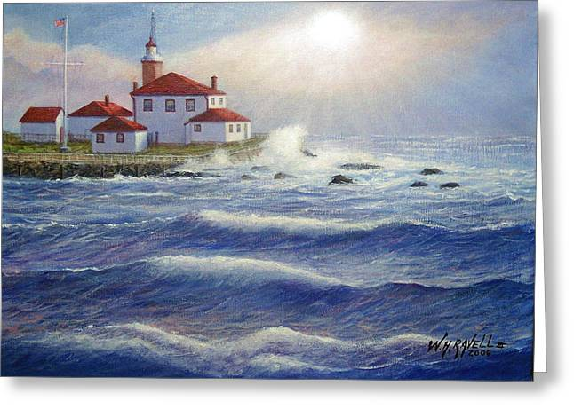 Watch Hill Lighthouseri In Breaking Sun Greeting Card by William H RaVell III